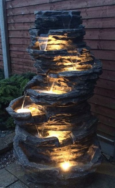 fontana giardino luci led