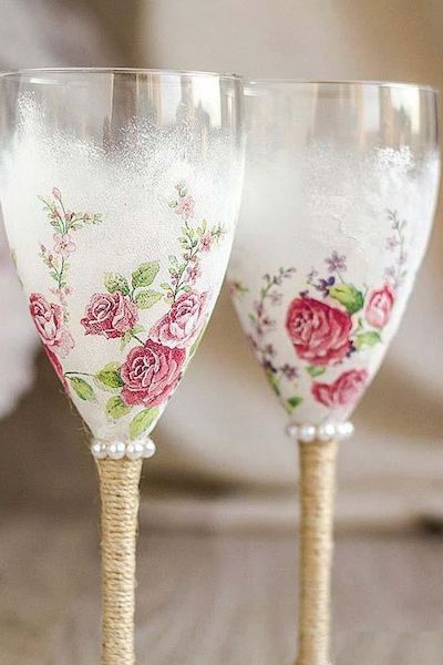 decoupage vetro bicchieri