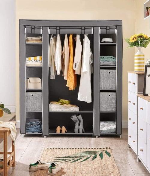 armadio pieghevole tessuto grigio
