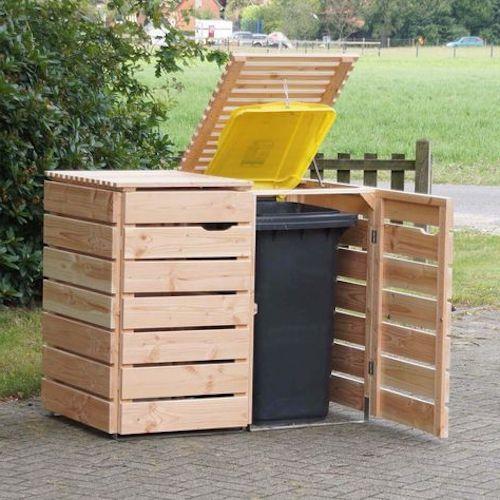 contenitore bidone differenziata in legno