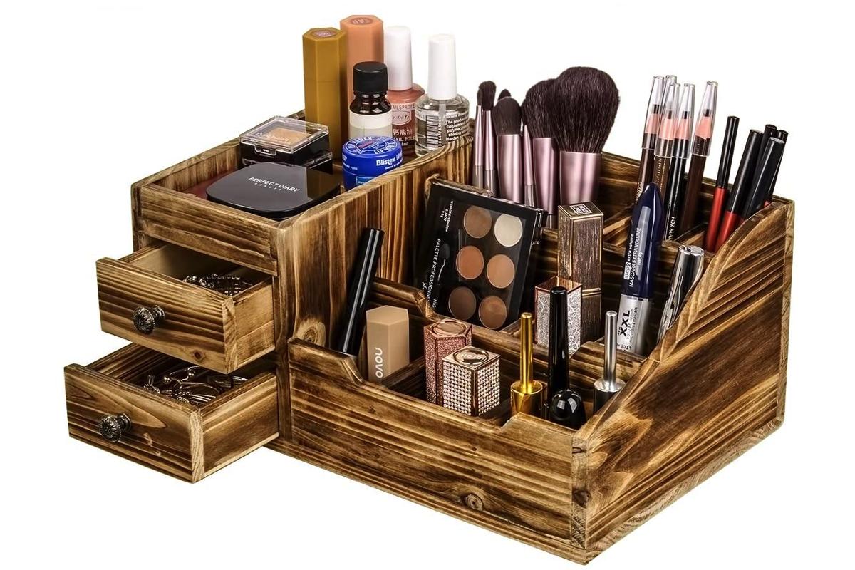 organizer makeup in legno